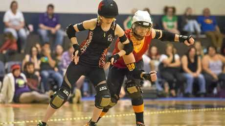 Quad Squad vs Mixed Package. Autumn Assault Roller Derby.  Saturday May 7 , 2016.