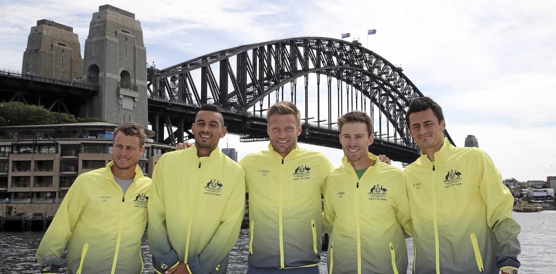 Australia's Davis Cup tennis team (from left) captain Lleyton Hewitt, Nick Kyrgios, Sam Groth, John Peers and Bernard Tomic.