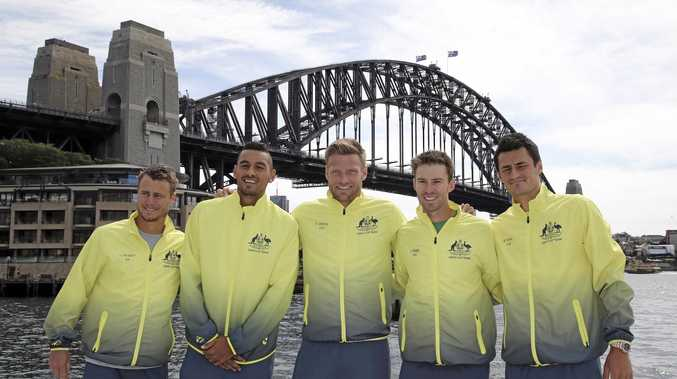 Australia's Davis Cup tennis team (from left) captain Lleyton Hewitt, Nick Kyrgios, Sam Groth, John Peers and Bernard Tomic.