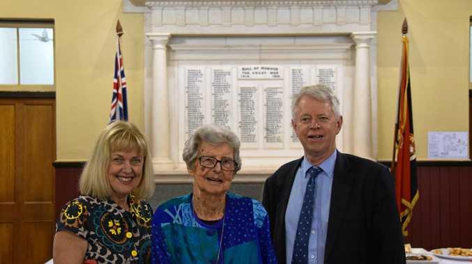 HONOURED: Grandchildren of Henry Arthur Kellow Roslyn (Kellow) McGovern and Dr John Kellow with Rockhampton historian Lorna McDonald.