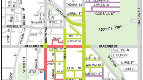 Toowoomba Carnival of Flowers road closures map for September 17.