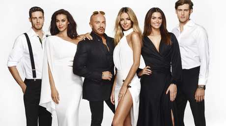 Australia's Next Top Model judges Megan Gale, Alex Perry and Jennifer Hawkins, centre, pictured with model mentors Jordan and Zac Stenmark and Cheyenne Tozzi.