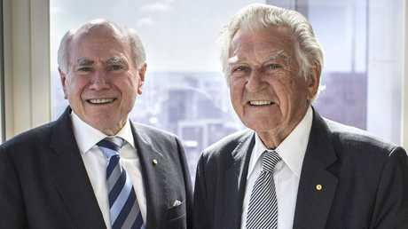 John Howard and Bob Hawke in a scene from the TV series Howard on Menzies: Building Modern Australia.