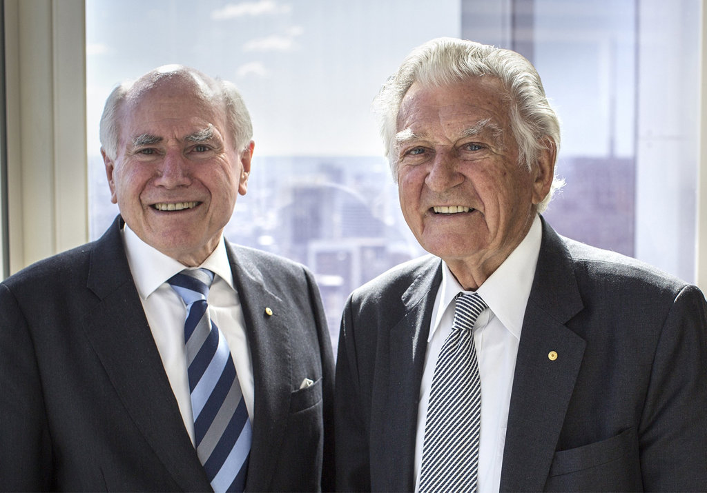 John Howard and Bob Hawke in a scene from the TV series Howard on Menzies: Building Modern Australia.