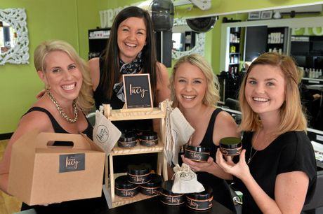 Lucy Labutis started her hair apprenticeship when she left school and has now created her own range free off chemicals hair products. Peta Linssen, Rhonda Billett, Kiara Clark-Smith and Lucy Labutis.