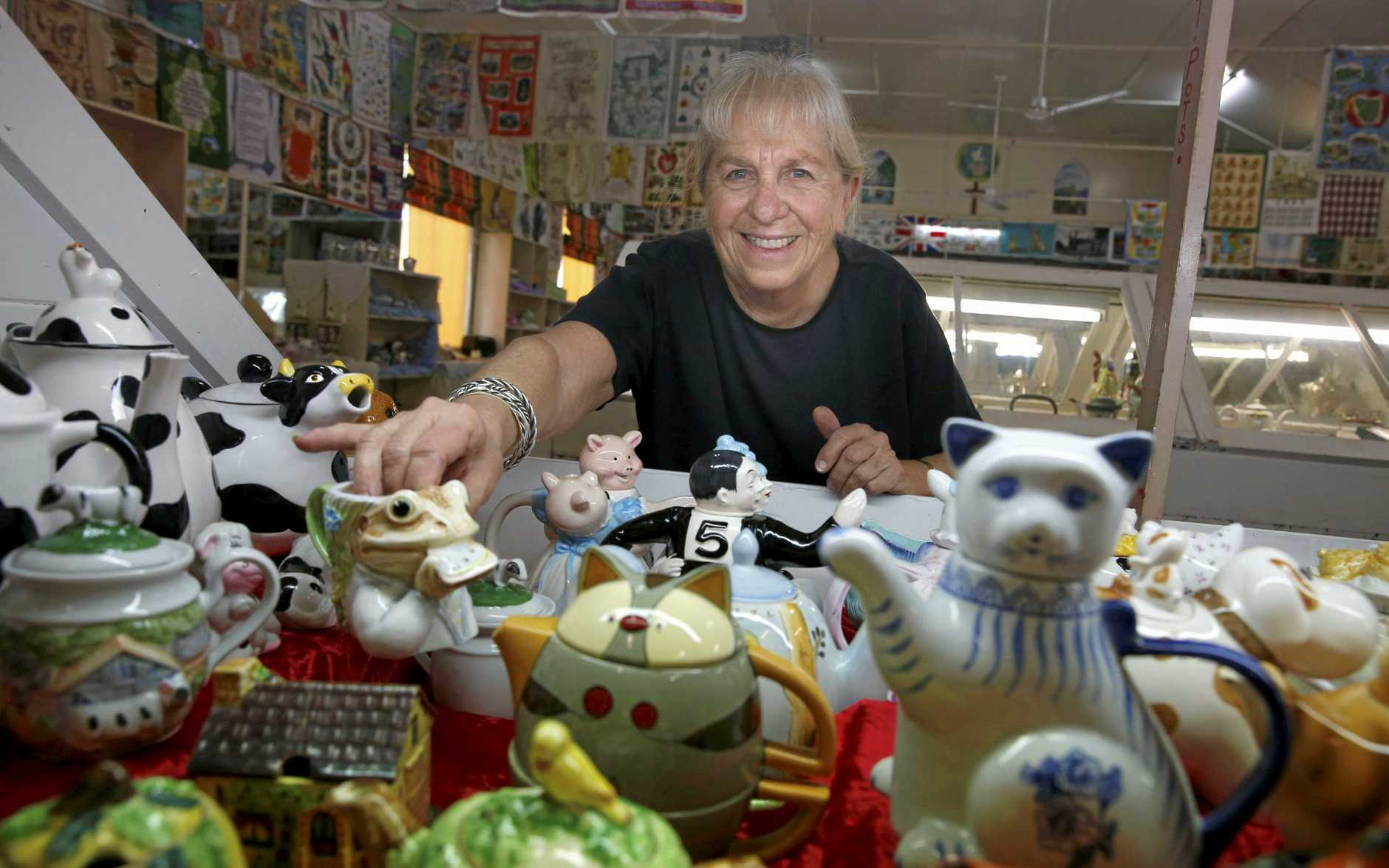 DELICATE PROCESS: Teapot Extravaganza organiser Kay Hartmann is ready to showcase the amazing display of crockery.