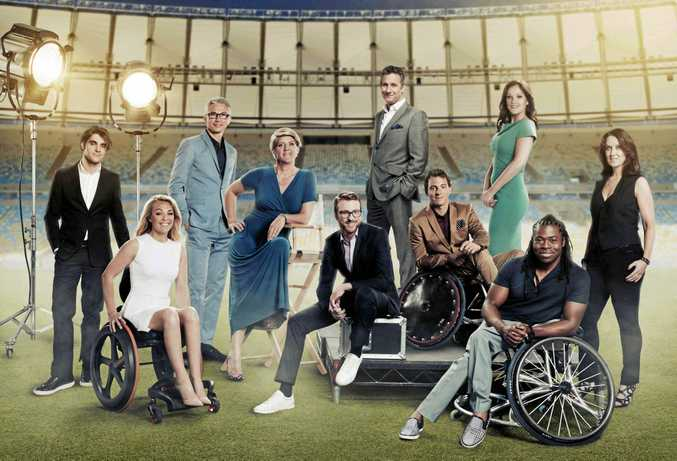RJ Mitte, Sophie Morgan, Jonathan Edwards, Clare Balding, JJ Chalmers, Adam Hills, Arthur Williams, Rachael Latham, Ade Adepitan and Lee McKenzie in Rio.