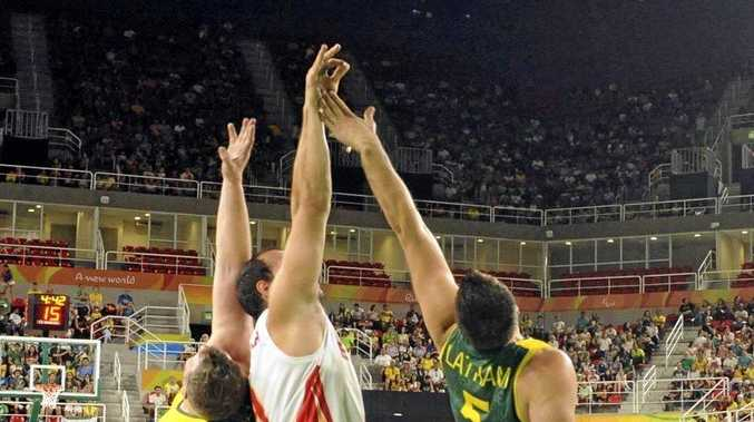 Spain and Australia compete in wheelchair basketball at the Paralympic Games in Rio.