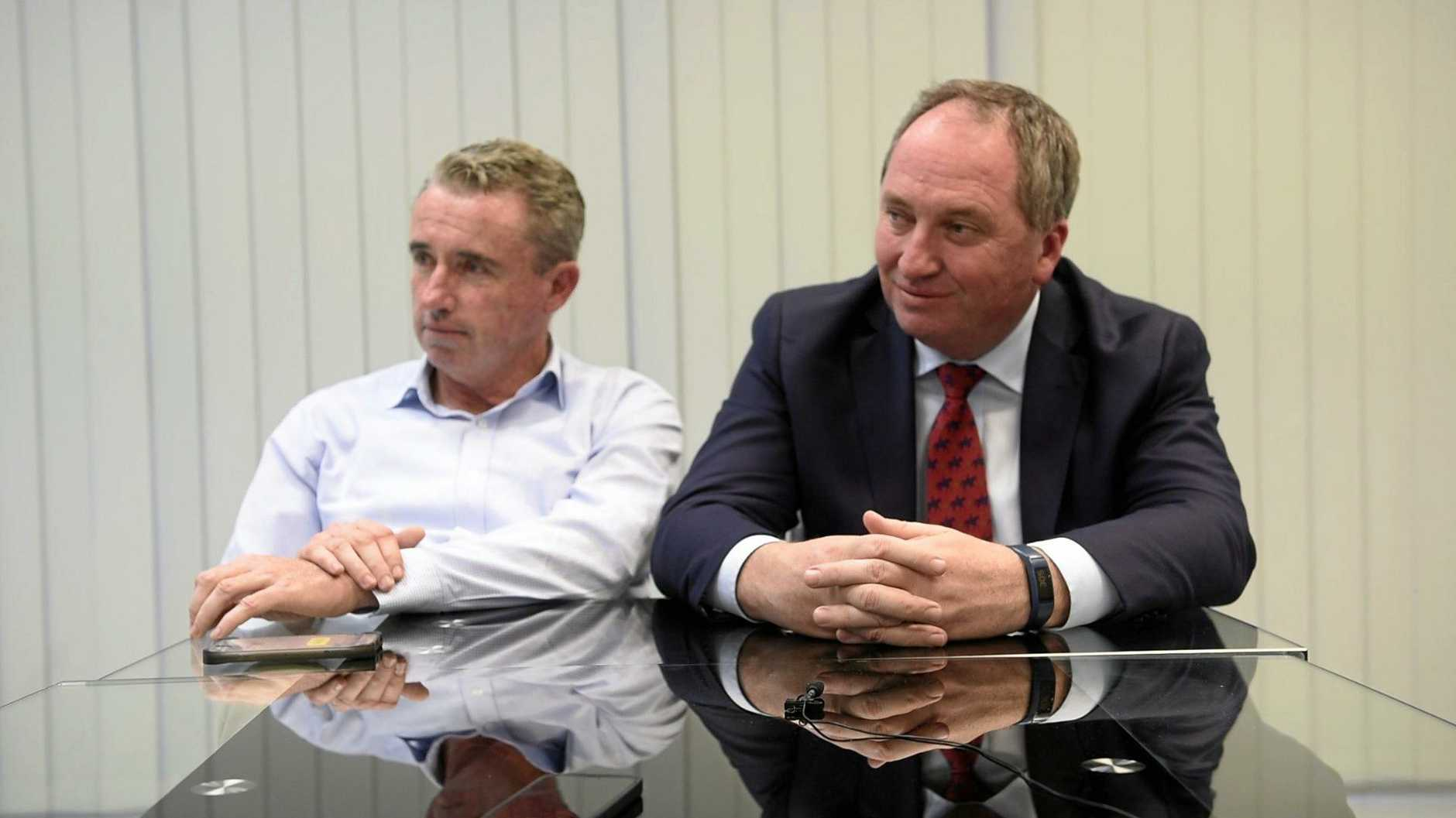 Member for Page Kevin Hogan with deputy prime minister Barnaby Joyce talking to the Daily Examiner.