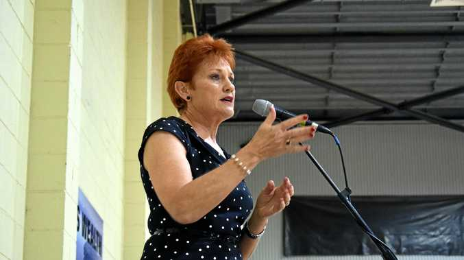 OUTSPOKEN: Pauline Hanson addresses the crowd at last night's rally in the Rockhampton.
