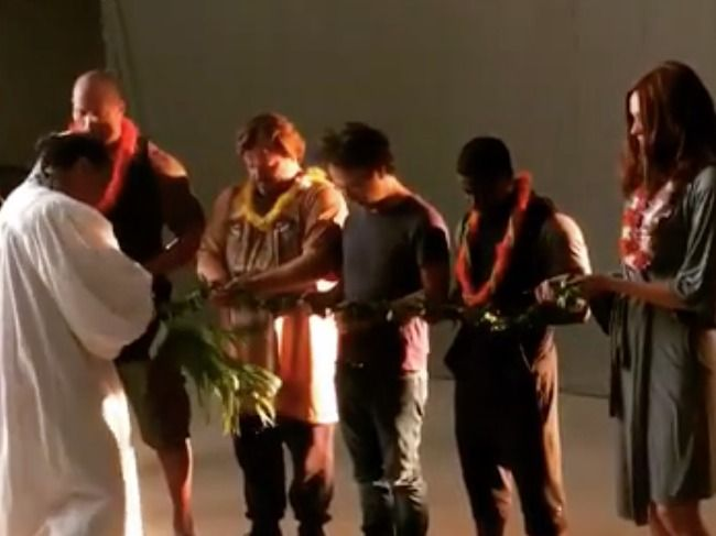 The cast of the Jumanji remake get blessed ahead of filming.
