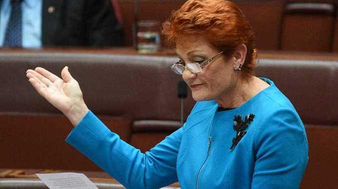 One Nation leader Senator Pauline Hanson makes her maiden speech in the Senate in Canberra, Wednesday, Sept. 14, 2016.
