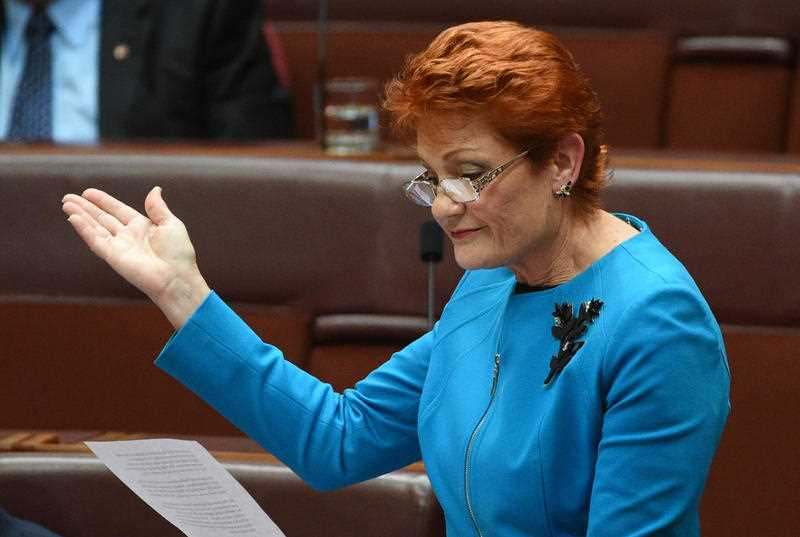 One Nation leader Senator Pauline Hanson makes her maiden speech in the Senate in Canberra, Wednesday, Sept. 14, 2016.