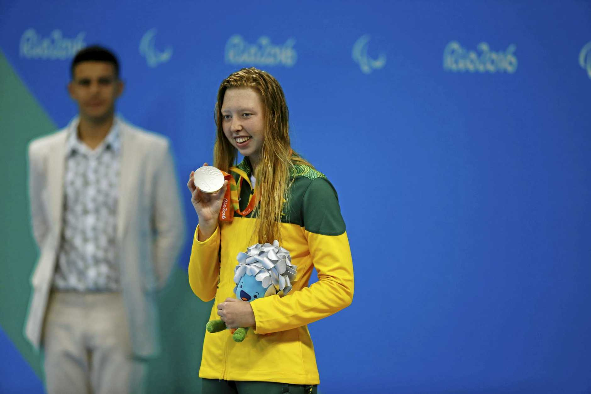 ON THE PODIUM: Lakeisha Ptterson with her silver medal after the women's 100m freestyle  at the Paralympics.