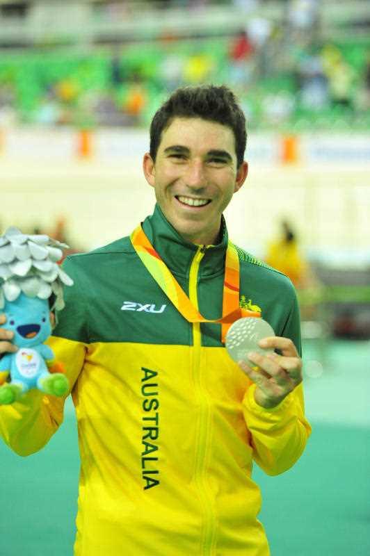 Kyle Bridgwood (AUS) wins Silver in the Men's C4 4000m Individual Pursuit. Cycling- Sept. 10, 2016. Sambodromo, Rio de Janeiro, Brasil.