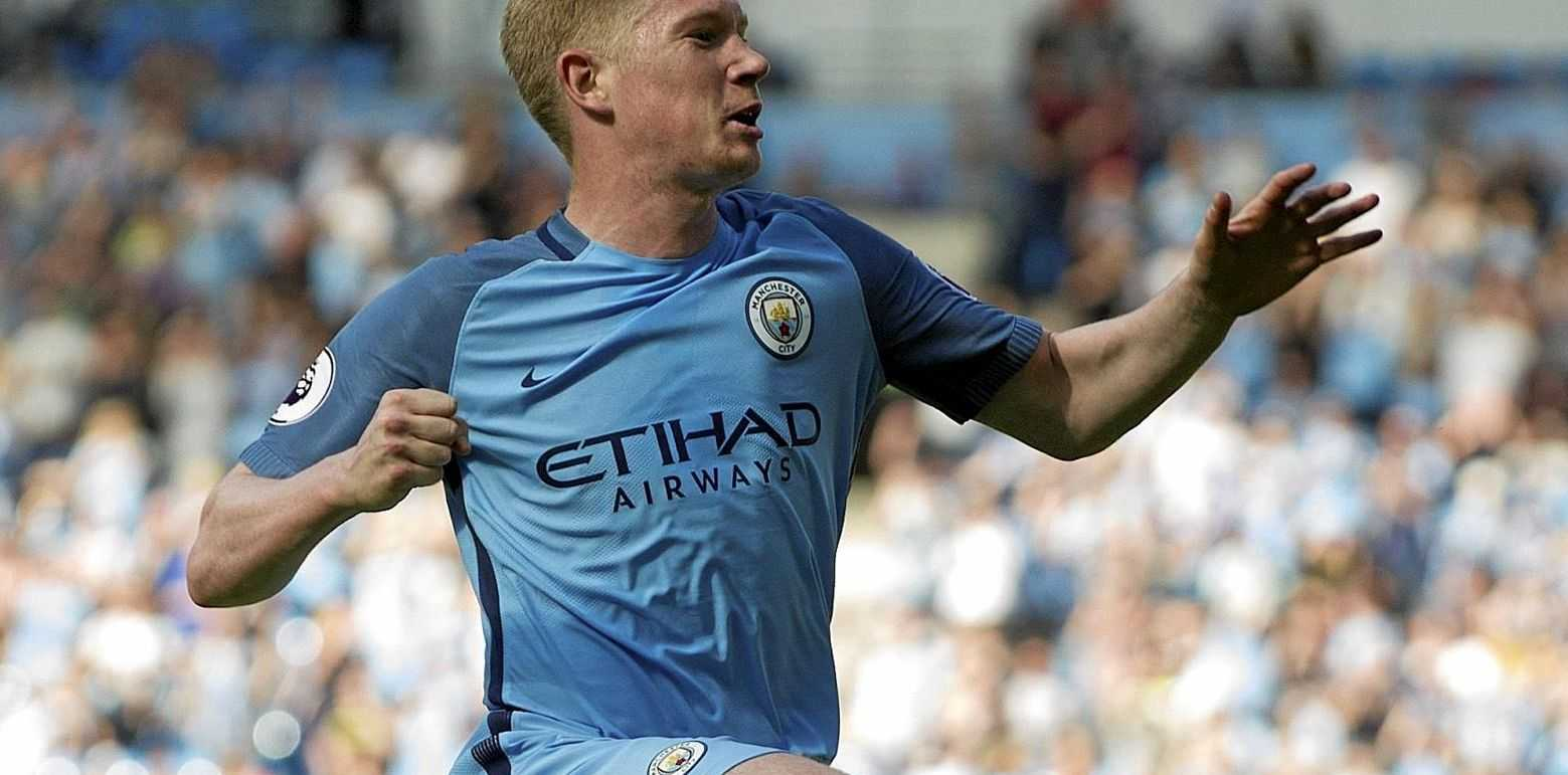 Manchester City's Kevin De Bruyne celebrates scoring the opening goal against Bournemouth.