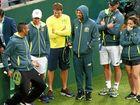 Nick Kyrgios (left) jokes with his teammates in Sydney.