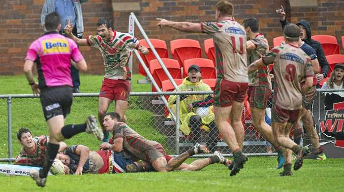 CLOSING STAGES: Warwick's Brodie Quirk goes for the try-line in the final minute only for the Pittsworth defence to tackle him into touch to close out the game winners.