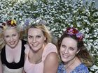 Celebrating the Carnival on a perfect spring day, from left; Kelsey Lynn, Ashleigh Lovegrove and Rhianna Lynn. Carnival of Flowers 2016. Queens Park, Ergon Energy Flower, Food & Wine Festival