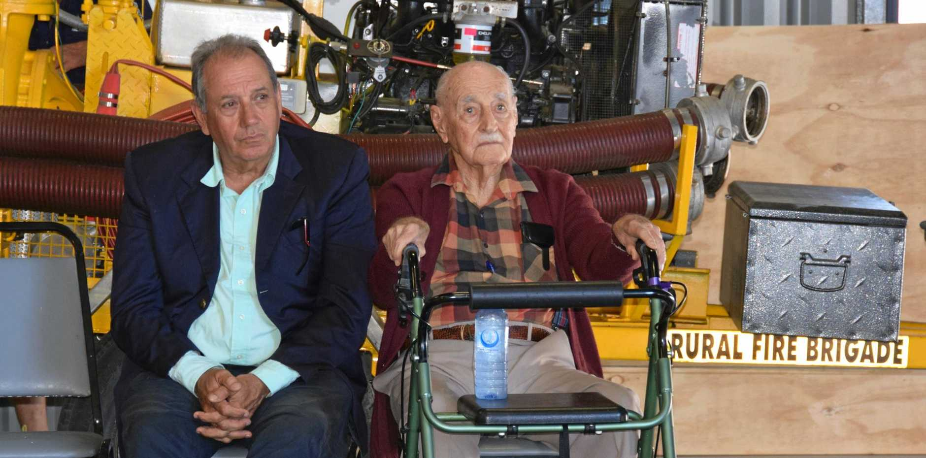 OLDEST MEMBER: 101-year-old Dave Daniels with his son.