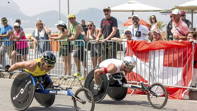Australia's Kurt Fearnley (left) and Switzerland's Marcel Hug compete in the marathon T54 race.