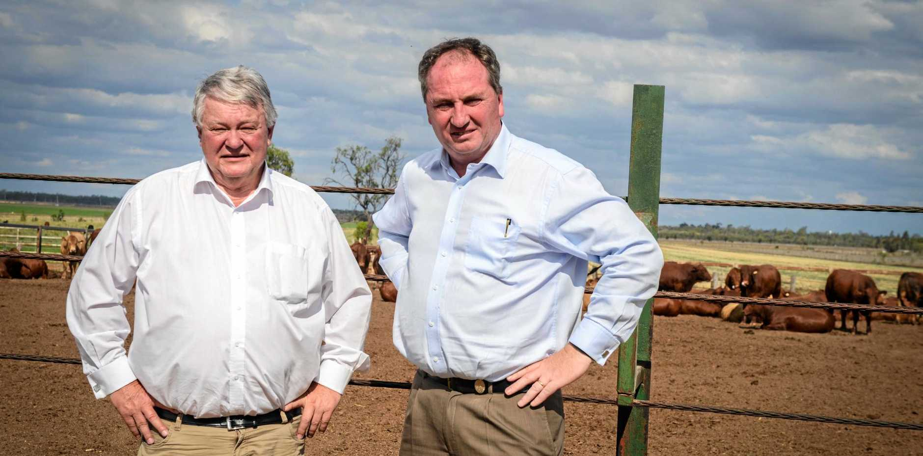 Ken O'Dowd and Barnaby Joyce announce $15 million in loans funding to support struggling Queensland farmers.
