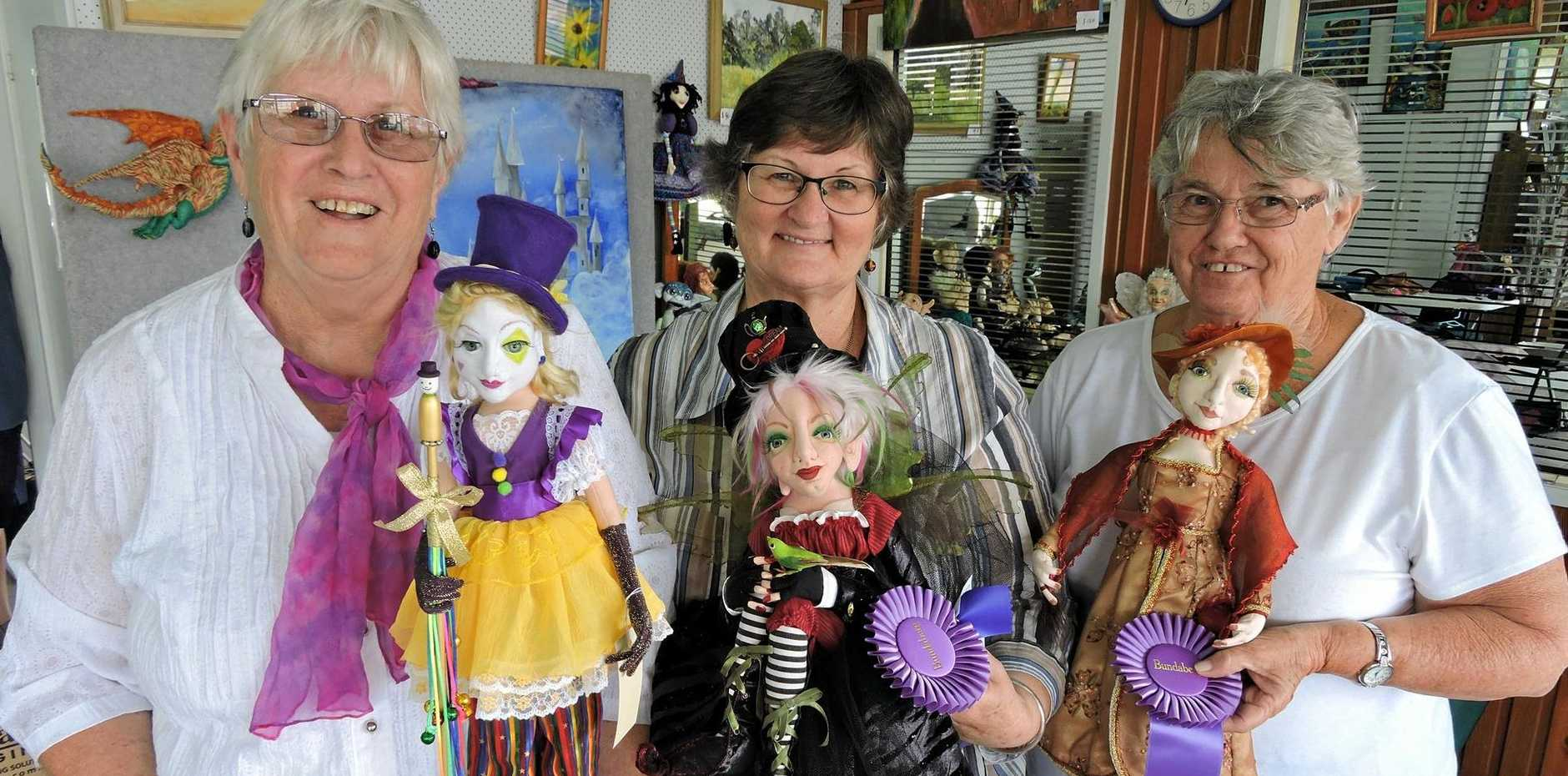 Dolls With Attitude members Robyn Williams with Carnival which won a blue rosette, Bev Lister with her Steam Punk Pixie also winning a blue rosette and Valerie Bull with the Lady of the Manor which picked up best in category and champion at the Doll and Teddy Bear Show in Bundaberg.