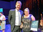 CONGRATULATIONS: Darryl Branthwaite awards Mary Urquhart the Best in Business Award for restaurants last year.