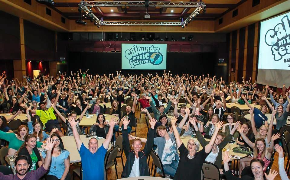 Around 600 volunteers met to gear up for the 10th Caloundra Music Festival. This is a far cry from the small gathering that met around a couch before the inaugural festival.
