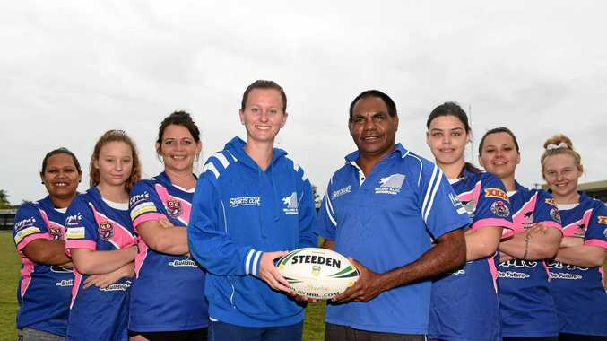 WOMEN'S RUGBY LEAGUE: (from left) Jillian Parsons, Candace Coombes, Cindy Noffke, Jessica Beer (manager), Ivan Collins (coach), Aleesha Langley, Chelsea Champney and Liberty Coombes are just six of the players already keen to play for Wallaroos next season.