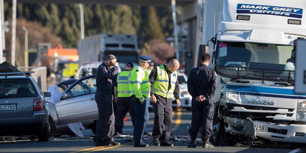 The scene of the triple fatal crash at Huntly. Photo / Brett Phibbs