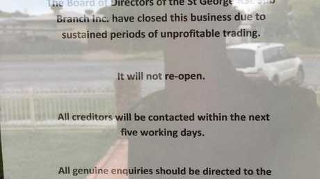 The St George RSL Sub Branch has closed and won't re-open.