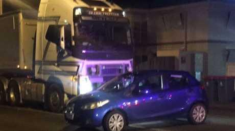A truck crash in Tor St, Toowoomba.