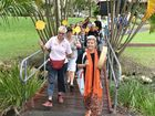 Walk for Peace at the Hervey Bay Botanic Gardens - (L) Jane Barnes from Zonta and Shanti Rahal lead the walkers through the gardens.