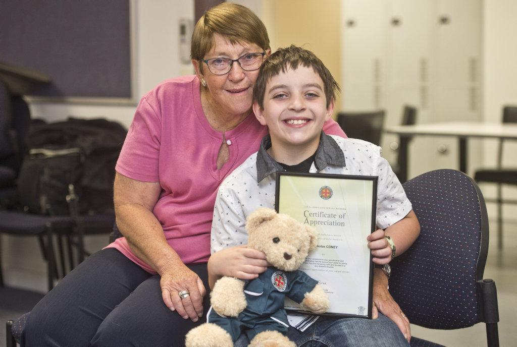 QAS AWARD: Clair Giamorelos with her hero grandson Nicholas Coney, 9. Wednesday Sep 21, 2016.