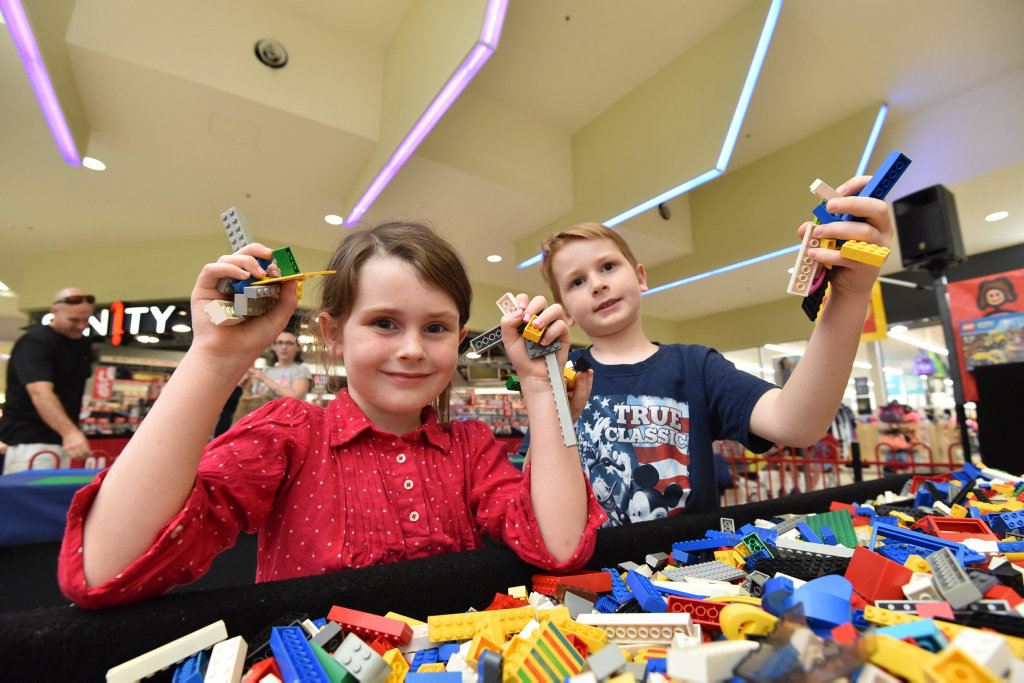 Lego competition at Station Square Shopping Centre - Charlee,5, and Parker,7, Kratzmann from Maryborough ready to build.