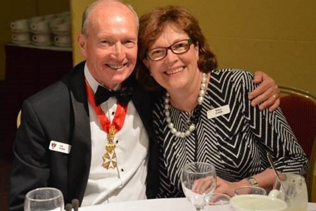 OSJ Vice-Chancellor of the Priory of The Darling Downs Dr Jeff Prebble and Mrs Robyn Prebble enjoy the 2016 Investiture Dinner at Empire Church Theatre.
