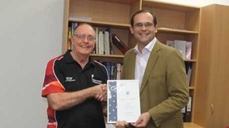 Mr David Janetzki MP, Member for Toowoomba South recently hosted a morning tea for Mr Geoff Lapthorne and Mr Merv Symons to thank them for their service as Justices of the Peace (JP) and to present them with commemorative certificates. David Janetzi presents Geoff Lapthorne (left) with his certificate.