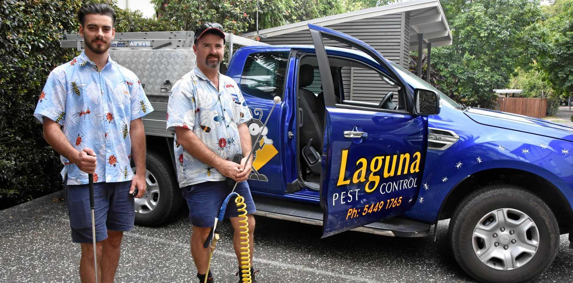 WINNING: Geordie McGrath (left) and Jay Turner of Laguna Pest Control.