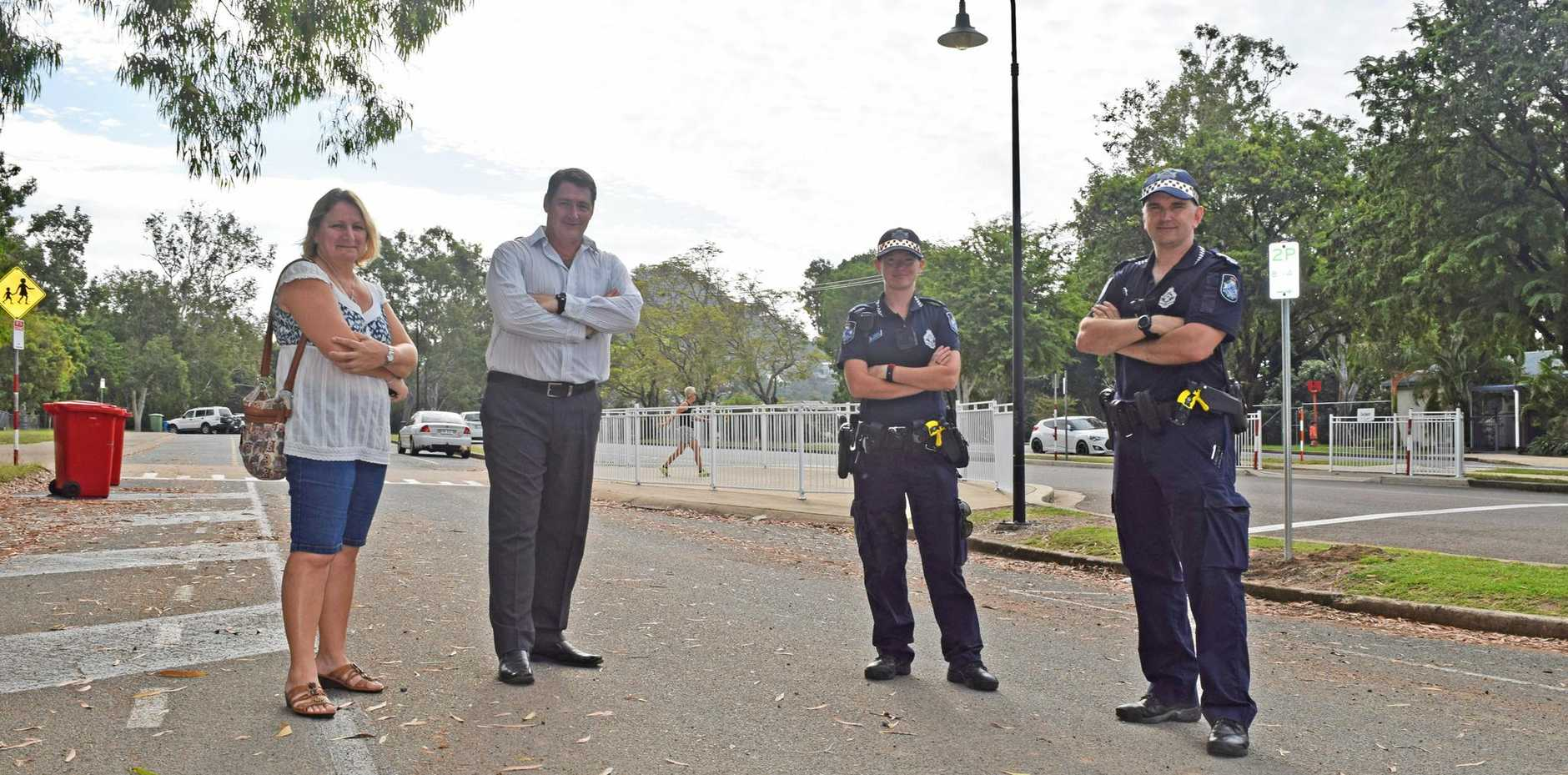 SAFETY: Tina Everett, Ron Petterson, Constable Coutney Bellingham and Senior Constable Andy Pratt.