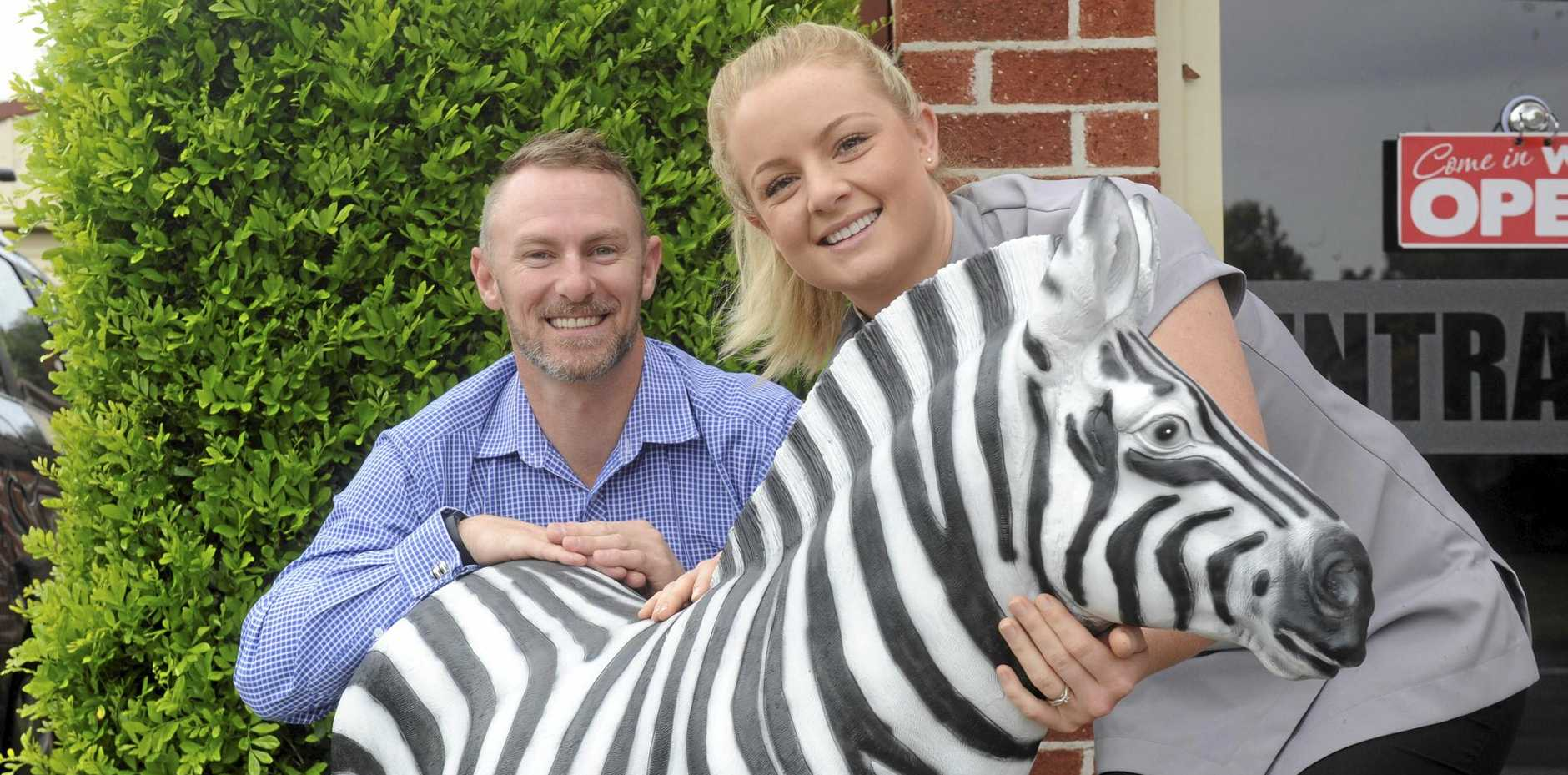 NAME GAME: Family Dental practice managers Ellie Bland and Dwarne McPhee welcome a new zebra to replace the one stolen earlier this month.