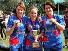 GRINNERS: Chinchilla players Trish Little, Carlena Gaske and Aime Justice played a hand in the Toowoomba Fillies' grand final win over Sunnybank in Brisbane over the weekend.