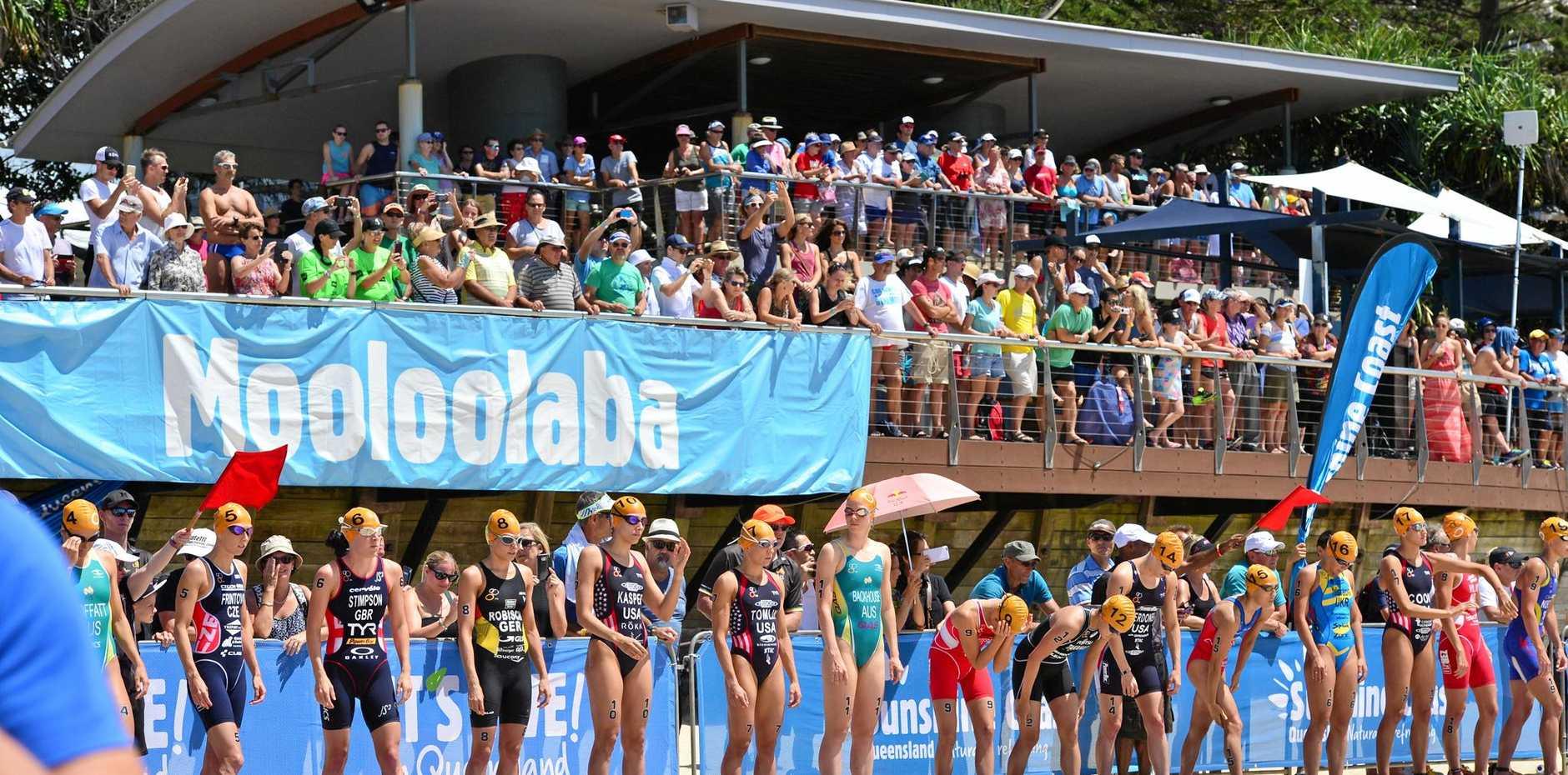 The start of the Mooloolaba ITU Triathlon World Cup women's race.