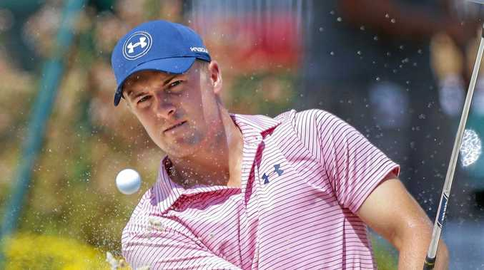 Jordan Spieth of the USA hits from a bunker during a practice round for the Tour Championship golf tournament at the East Lake Golf Club in Atlanta, Georgia.
