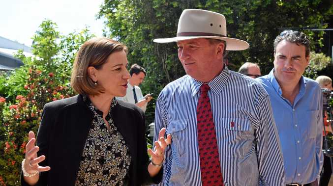 State deputy opposition leader Deb Frecklington, Acting Prime Minister Barnaby Joyce and Member for Whitsunday Jason Costigan.