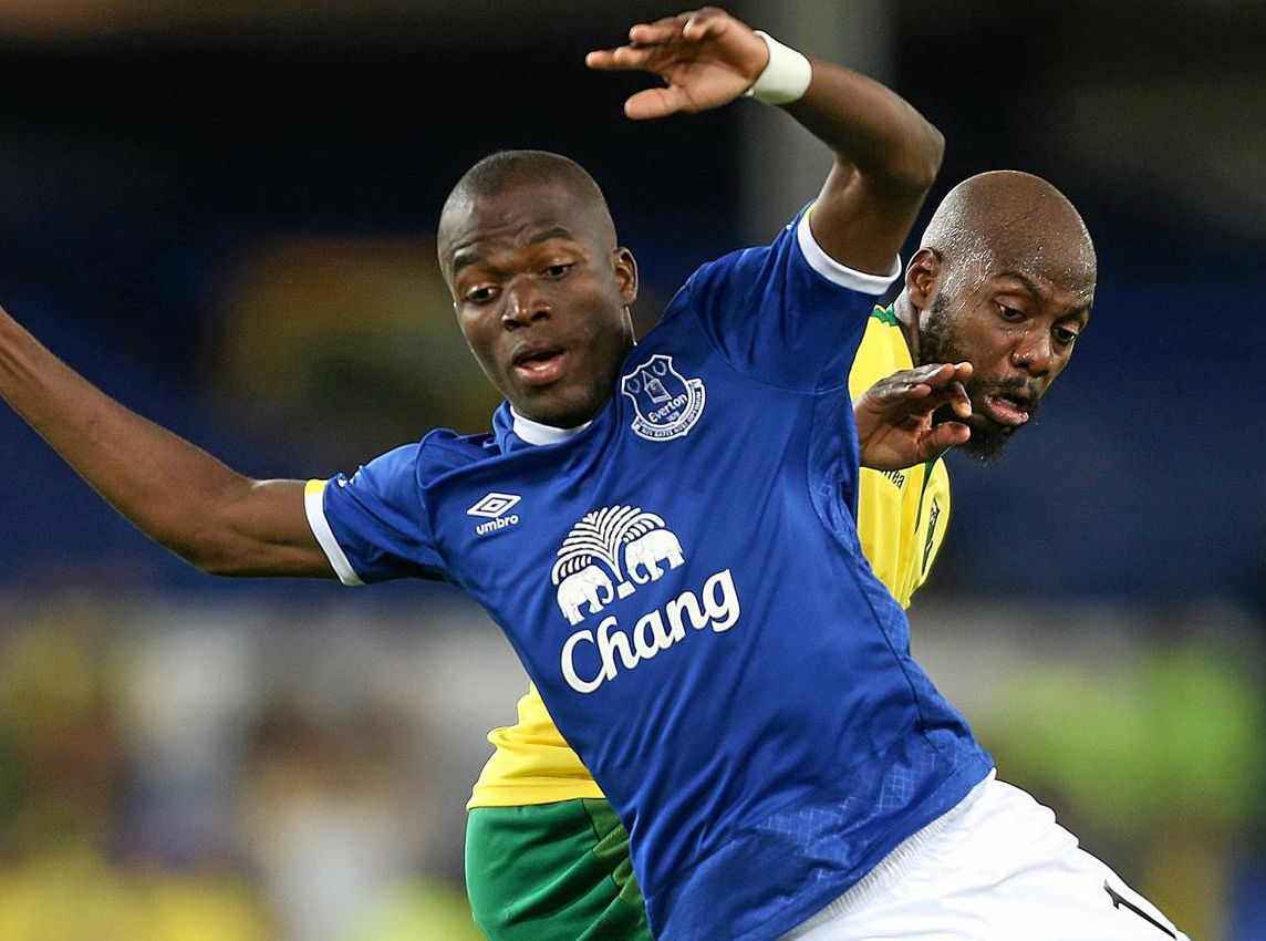 Everton's Enner Valencia and Norwich City's Youssouf Mulumbu battle for the ball during the English League Cup third round match between at Goodison Park.