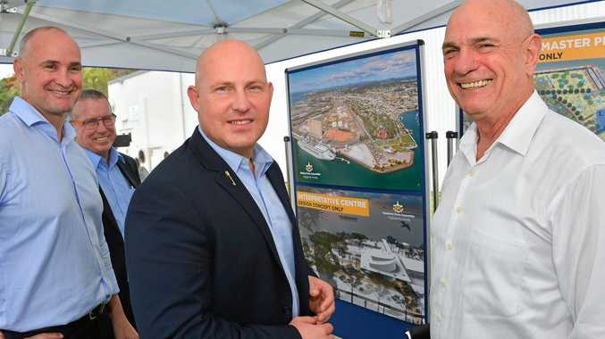 ANOTHER PROMISING PROJECT: Member of Gladstone Glenn Butcher, GPC CEO Peter O'Sullivan, acting premier Curtis Pitt and GPC chairman Leo Zussino look over plans to revamp the East Shores precinct.
