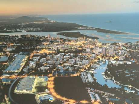 SUNCENTRAL: An artist's impression of how the new Maroochydore CBD will look at night.