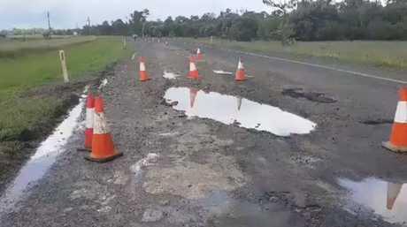 Damage to the Cunningham Hwy near Goondiwindi caused by recent rain.