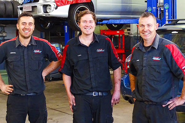 Toowoomba Total Mechanic business owners (from left) Michael Telford, Torin Edwards and James Cornford